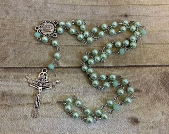Mint green glass pearl rosary, simple catholic rosary, trendy rosary, baptism gift, first communion gift, confirmation gift, spring rosary