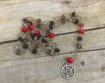 Red and grey pagan pentacle rosary, pagan prayer beads, wiccan rosary, wiccan jewelry, pentacle necklace, occult jewelry