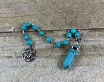 Light blue howlite pentacle pendulum, pagan pendulum, wiccan pendulum, occult pendulum, witch pendulum, crystal pendulum