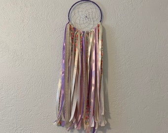 Purple vintage flower dreamcatcher, ribbon dreamcatcher, boho dreamcatcher, scrap dreamcatcher, modern dreamcatcher, floral dreamcatcher