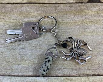 Dalmatian jasper spider keychain, tarantula keychain, arachnid keychain, goth keychain, gothic keychain, Halloween keychain, diffuser
