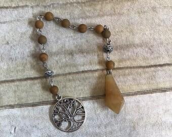 Yellow serpentine pendulum, pagan pentacle pendulum, beaded pendulum, jasper pendulum, occult pendulum, wiccan pendulum