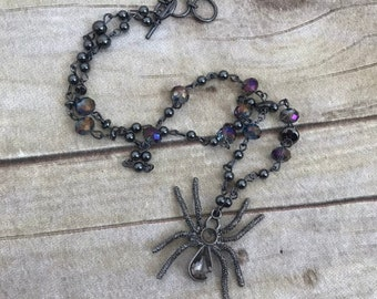 Purple and gunmetal spider necklace, gothic spider necklace, insect jewelry, halloween jewelry