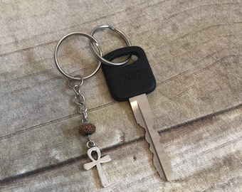 Sparkly brown resin ankh keychain, egyptian paganism, key of life, occult keychain, pagan keychain, wiccan keychain