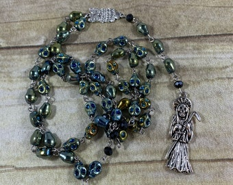 Green and blue skull Santa muerte rosary, santisima muerte rosary, nuestra senora de la Santa Muerte, holy death, sacred death rosary