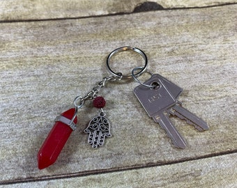 Red agate hamsa keychain, hand of Fatima keychain, hand of Miriam keychain, crystal keychain, essential oil keychain, diffuser keychain