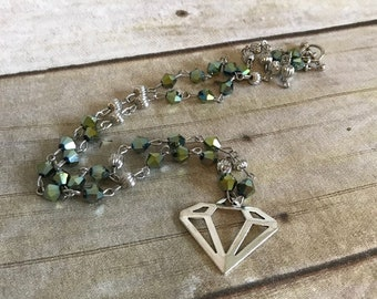 Green diamond necklace, handmade jewelry, unique necklace, geometric jewelry, diamond shaped, one of a kind