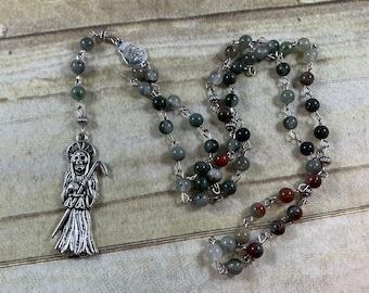 African bloodstone Santa Muerte rosary, nuestra senora de la santa muerte, santisima muerte, holy death rosary, sacred death rosary