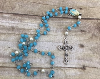Blue and white glass catholic rosary, faux pearl rosary, religious jewelry, baptism gift, first communion gift, confirmation gift