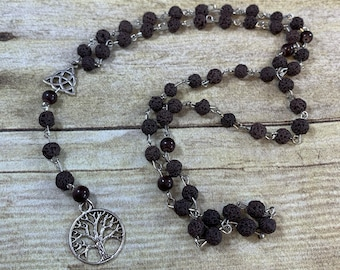 Dark brown lava rock tree of life pagan rosary, pagan prayer beads, wiccan rosary, wiccan prayer beads, occult rosary, witch rosary,