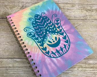 Teal rainbow tie dye hamsa journal, hand of Fatima journal, hand of Miriam journal, pagan journal, wiccan journal, witch journal