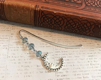 Blue glass moon bookmark, metal bookmark, lunar bookmark, handmade gift, stocking stuffer
