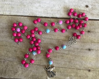 Bright pink anubis rosary, pagan rosary, handmade jewelry, egyptian inspired, god of the dead, wiccan necklace