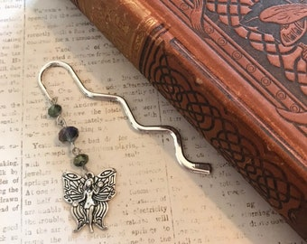 Purple and green sparkly fairy bookmark, fairy gift, fae bookmark, fantasy bookmark, celtic bookmark, glass bookmark, beaded bookmark