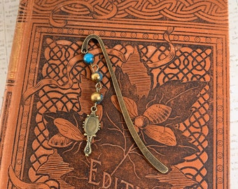 Blue and gold mirror bookmark, makeup bookmark, make up bookmark, cosmetics bookmark, make up artist gift, makeup artist gift