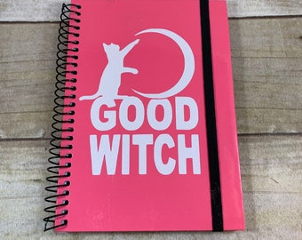 Pink and white glitter good witch journal, pagan journal, wiccan journal, occult journal, familiar journal, book of shadows, witch notebook