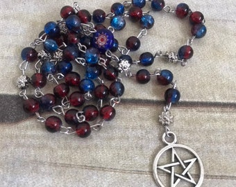 Red and blue flower pagan rosary, pentacle pagan prayer beads, pagan jewelry, wiccan necklace