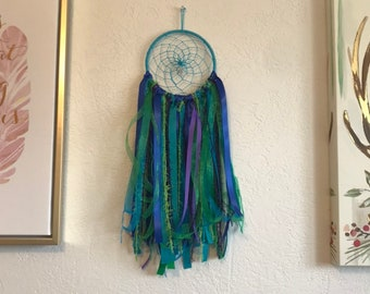 Blue green and purple mermaid dreamcatcher, mermaid home decor, ocean dreamcatcher, modern dreamcatcher, ribbon dreamcatcher