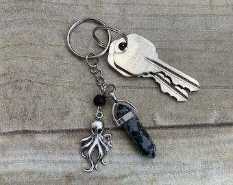 Snowflake obsidian octopus keychain, octopi keychain, Cthulhu keychain, essential oil keychain, diffuser keychain, crystal keychain