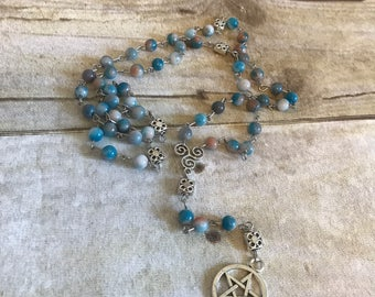 Blue and orange pagan rosary, mountain jade, pentacle jewelry, wiccan necklace