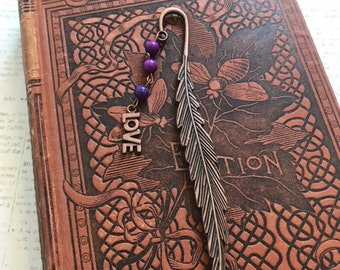 Purple and blue copper love bookmark, romance bookmark, romantic bookmark, Valentine's Day gift, anniversary gift, feather bookmark