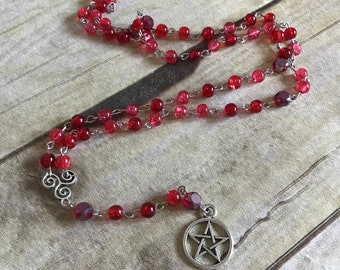 Red and pink crackle glass pagan rosary, pagan prayer beads, pentackle necklace, pentackle jewelry, wiccan rosary, wiccan jewelry
