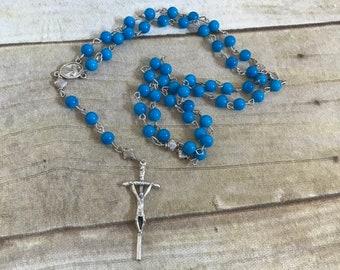 Simple blue glass catholic rosary, baptism gift, first communion gift, catholic prayer beads
