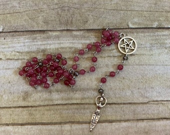 Rose pink goddess pagan rosary, stone pagan rosary, pagan peayer beads, wiccan prayer beads, witch's rosary, occult rosary