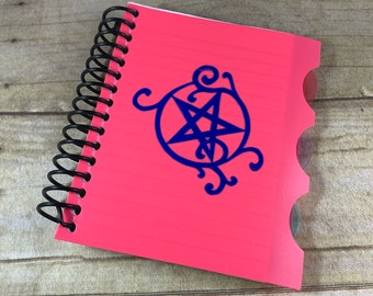 Bright pink holographic swirl pentacle journal, pentacle notebook, pagan notebook, occult notebook, witch notebook, witchy journal