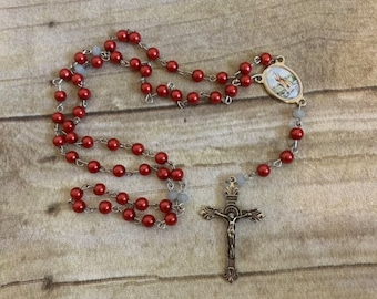 Red and grey saint lazarus rosary, lazarus of bethany rosary, lazarus of the four days rosary, patron saint of lepars, baptism gift