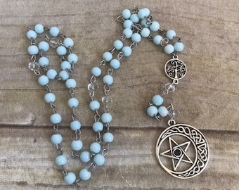Pale blue celtic moon pentacle pagan rosary, pentacle prayer beads, pagan prayer beads, witch meditation beads, occult rosary