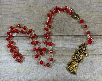 Sparkly red and gold Santa muerte rosary, santisima muerte rosary, nuestra senora de la Santa Muerte, holy death rosary, sacred death