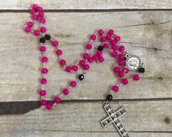 Pink and black studded catholic rosary, punk rosary, gothic rosary, alternative rosary, catholic jewelry, religious jewelry, baptism gift