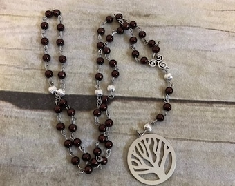 Deep red faux pearl pagan tree of life rosary, pagan prayer beads, wiccan prayer beads, tree of life jewelry, pagan necklace, wiccan rosary