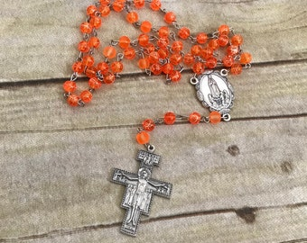 Bright orange and italian silver rosary, catholic rosary, catholic jewelry, religious jewelry, baptism gift, prayer beads, handmade rosary