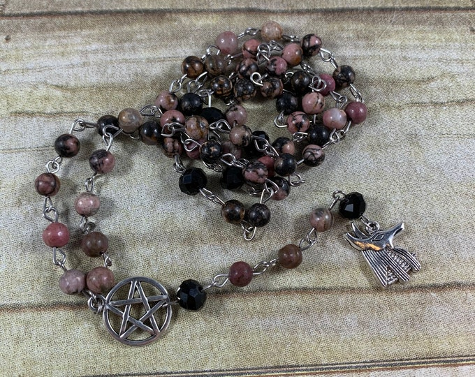 Featured listing image: Rhodonite Anubis pagan prayer beads, pagan rosary, wiccan prayer beads, witch prayer beads, Anubis rosary, occult prayer beads