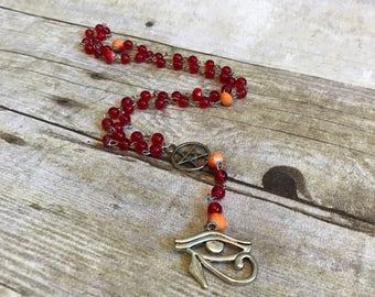 Red and orange eye of ra eye of horus pagan rosary