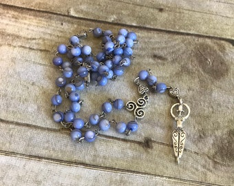 Blue shell goddess rosary, pagan goddess, pagan prayer beads, wiccan jewelry, wiccan necklace, pagan jewelry