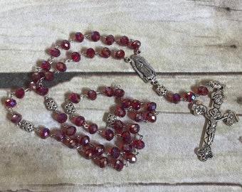Deep red glass rosary, catholic rosary, bling rosary, handmade rosary, prayer beads, baptism gift, religious jewelry,