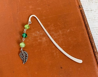 Two tone green leaf bookmark, garden bookmark, plant bookmark, nature bookmark, leaves bookmark, spring bookmark, leaf gift