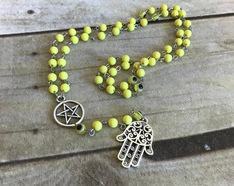 Yellow hamsa nazar rosary, protection amulet, pagan prayer beads, wiccan jewelry, wiccan necklace, pagan jewelry