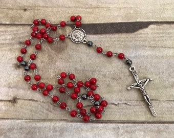 Red magnesite and hematite rosary, stone rosary, catholic rosary, mens rosary, prayer beads, confirmation gift, baptism gift