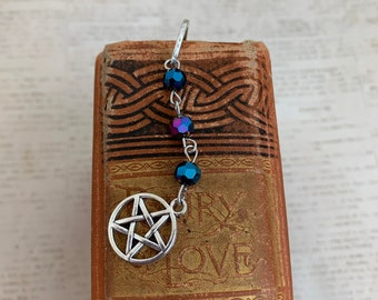Blue rainbow pentacle bookmark, occult bookmark, witch bookmark, witchcraft bookmark, wiccan bookmark, pagan bookmark