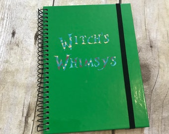 Witch's whimsys notebook, pagan journal, wiccan journal, occult stationary, halloween stationary, wiccan notebook