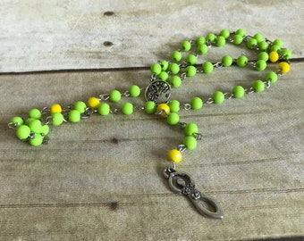 Bright yellow and green goddess rosary, flower goddess, pagan jewelry, wiccan necklace, occult gift, one of a kind, handmade