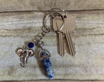 Sodalite elephant keychain, elephant head keychain, elephant gift, essential oil keychain, diffuser keychain, crystal keychain, animal gift