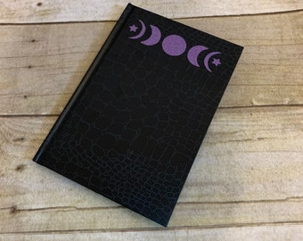 Black and purple glitter moon phase journal, lunar journal, celestial journal, pagan journal, wiccan journal, occult journal, moon gift