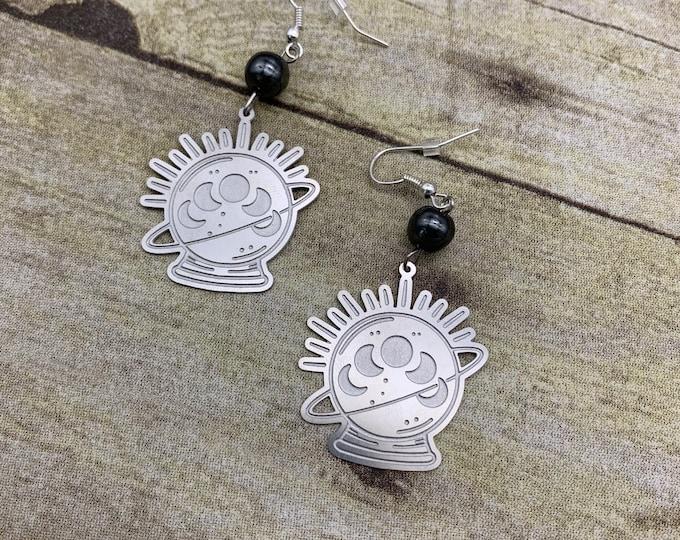 Featured listing image: Hematite crystal ball earrings, moon phase earrings, celestial earrings, witchy earrings, esoteric earrings, divination earrings, space