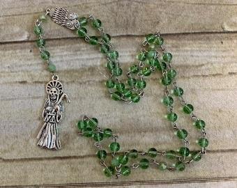 Simple green santisima muerte rosary, santa muerte rosary, nuestra senora de la santa muerte, holy death rosary, sacred death rosary