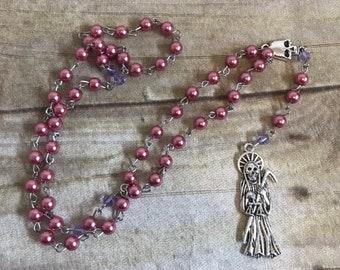 Pink and purple Santa Muerte rosary, Nuestra Señora de la Santa Muerte rosary, santisima muerte rosary, holy death rodary